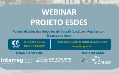 """Webinar """"Potencialidades da Dessalinização"""",28 de Abril 10h (GMT)"""